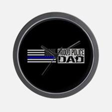 Police: Proud Dad (Black Flag Blue Line Wall Clock