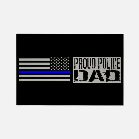 Police: Proud Dad (Black Flag Blu Rectangle Magnet