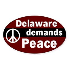 Delaware Demands Peace Oval Decal