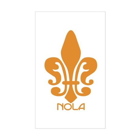 NOLA Orange Fleur Rectangle Sticker