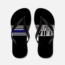 Police: Proud Wife (Black Flag Blue Lin Flip Flops