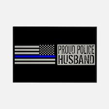 Police: Proud Husband (Black Flag Rectangle Magnet