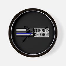 Police: Proud Girlfriend (Black Flag Bl Wall Clock