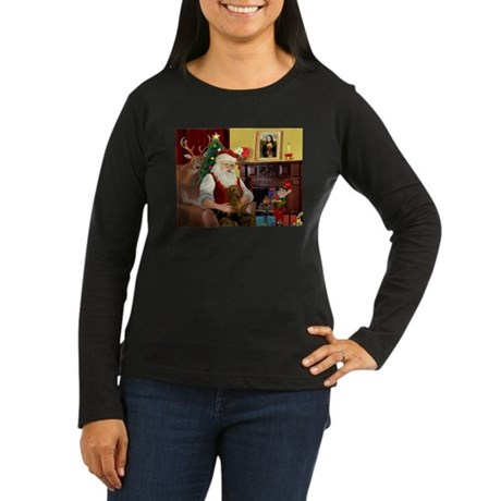 Santa's Dachshund (b) Women's Long Sleeve Dark T-S