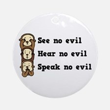 See Hear Speak No Evil Ornament (Round)