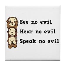 See Hear Speak No Evil Tile Coaster
