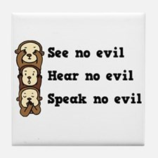 See Hear Speak No Evil Tile Coaster