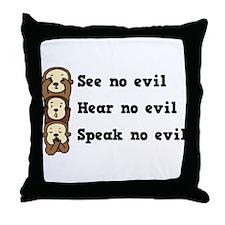 See Hear Speak No Evil Throw Pillow