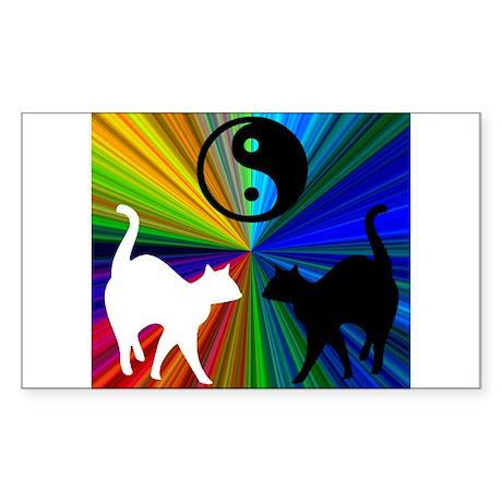 YIN-YANG RAINBOW CATS Rectangle Sticker