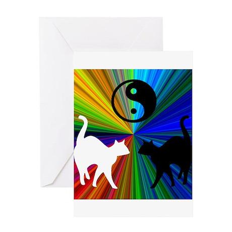 YIN-YANG RAINBOW CATS Greeting Card