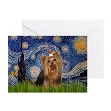 Starry Night & Yorkie #7 Greeting Cards (Package o