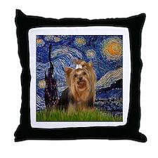 Starry Night & Yorkie #7 Throw Pillow