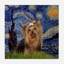 Starry Night & Yorkie #7 Tile Coaster