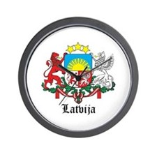 Latvia Arms with Name Wall Clock