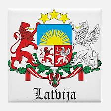 Latvia Arms with Name Tile Coaster