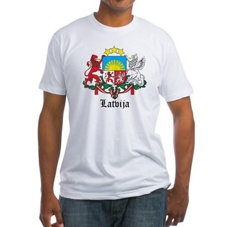 Latvia Arms with Name Fitted T-Shirt