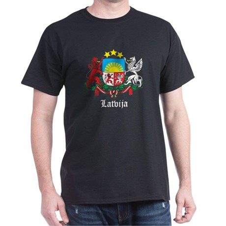Latvia Arms with Name Dark T-Shirt
