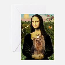 Mona Lisa & Yorkie #7 Greeting Cards (Pk of 10