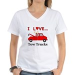 I Love Tow Trucks Women's V-Neck T-Shirt