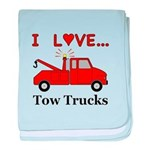 I Love Tow Trucks baby blanket