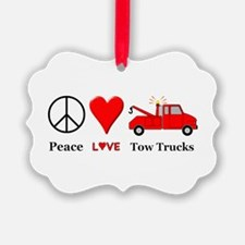 Peace Love Tow Trucks Ornament