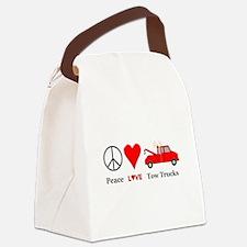 Peace Love Tow Trucks Canvas Lunch Bag