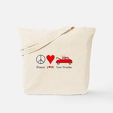 Peace Love Tow Trucks Tote Bag