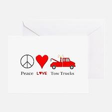 Peace Love Tow Trucks Greeting Card