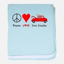 Peace Love Tow Trucks baby blanket