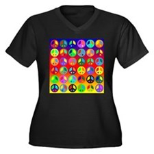 Peace Signs-colorful Women's Plus Size V-Neck Dark