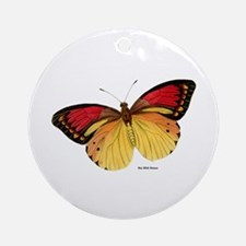 Red Yellow Butterfly Ornament (Round)