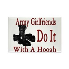 army girlfriend do it with a hooah Rectangle Magne