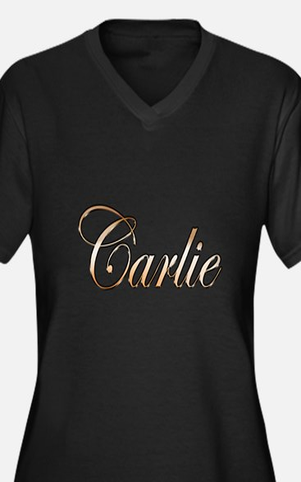 Unique Carlie Women's Plus Size V-Neck Dark T-Shirt