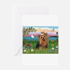 Lighthouse & Yorkie #7 Greeting Cards (Package of