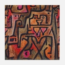 Paul Klee Abstract Red Contemporary Tile Coaster
