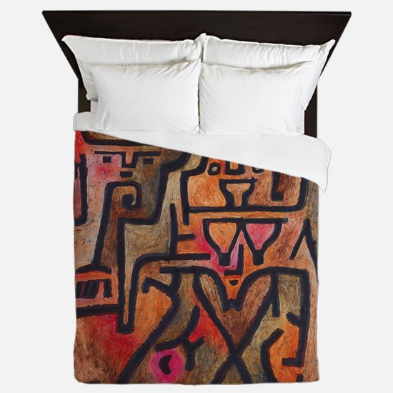 Paul Klee Abstract Red Contemporary Queen Duvet