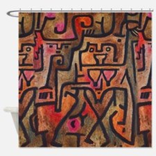 Paul Klee Abstract Red Contemporary Shower Curtain