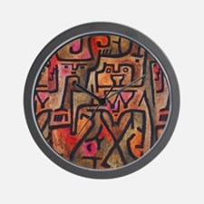 Paul Klee Abstract Red Contemporary Wall Clock
