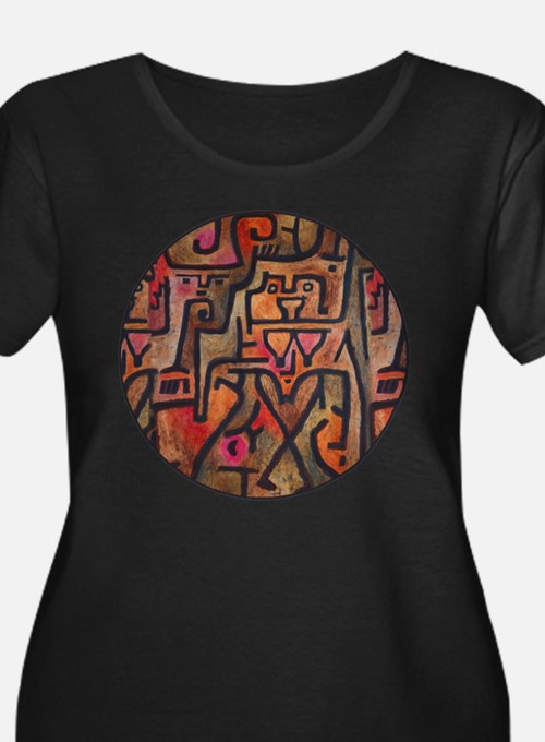 Paul Klee Red Nature Abstract Forest Plus Size T-S