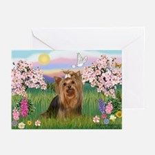 Blossoms & Yorkie 7 Greeting Cards (Pk of 10)