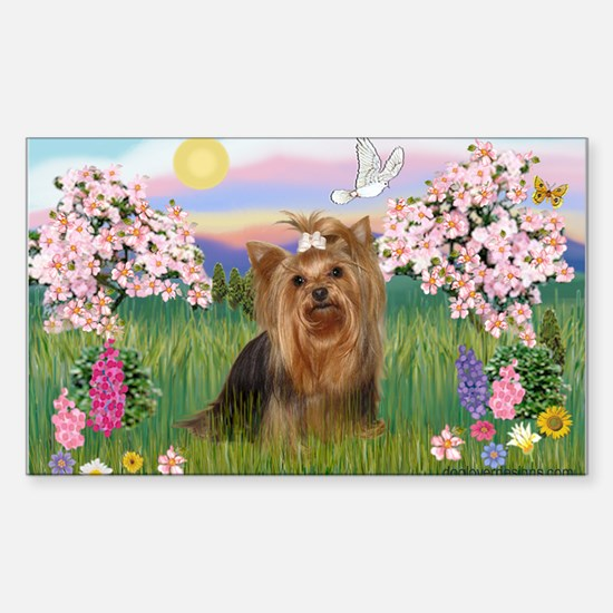 Blossoms & Yorkie 7 Rectangle Decal