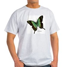 Green Butterfly (Front) Ash Grey T-Shirt