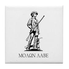 Molon Labe Minuteman statue Tile Coaster