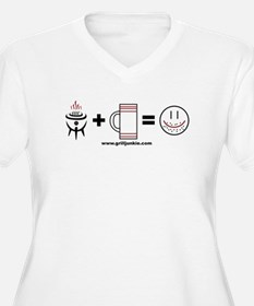 Grilling + Beer = Happy Plus Size T-Shirt