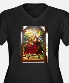 stained glass Jesus Plus Size T-Shirt