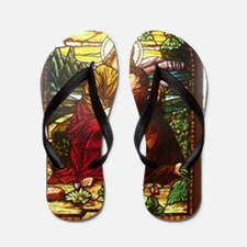 stained glass Jesus Flip Flops