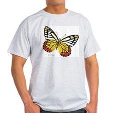 Red Dots Butterfly (Front) Ash Grey T-Shirt