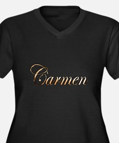Cute Carmen Women's Plus Size V-Neck Dark T-Shirt