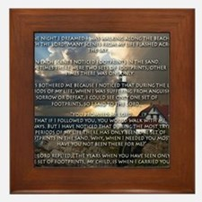Cute Footprints sand poem Framed Tile