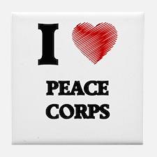 I Love Peace Corps Tile Coaster